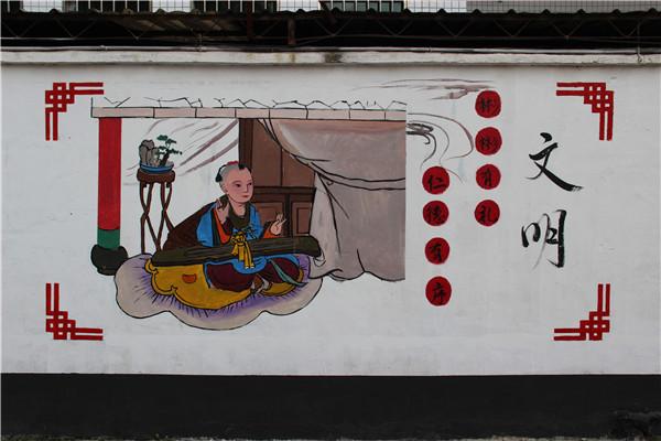 通过墙绘的形式,从富强,民主,文明,和谐,自由,平等,公正,法治, 爱国